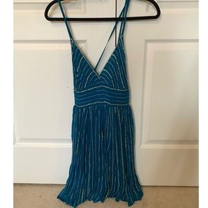 Free People Blue Gold Sequin Dress size 4